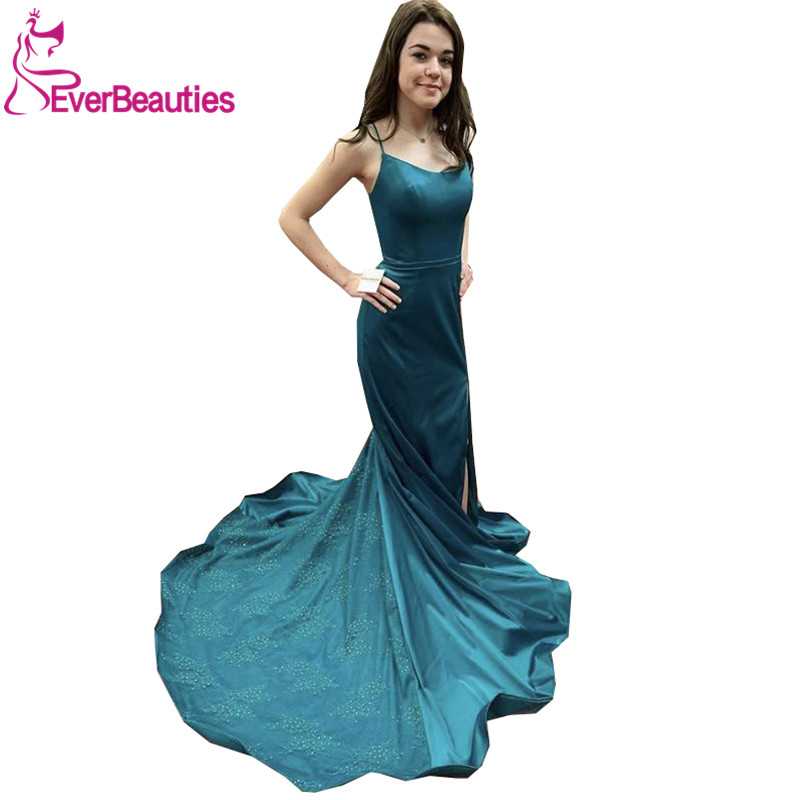 Vestidos De Fiesta Mermaid Evening Dress Long 2020 Robe De Soiree Formal Dresses Satin Beaded Spaghetti Straps Party Dresses