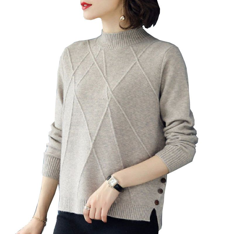 Autumn Winter Sweater Women Button Color Matching Knit Short Hollow Long Sleeve Casual Warm Loose Wool Sweater Jersey Mujer:
