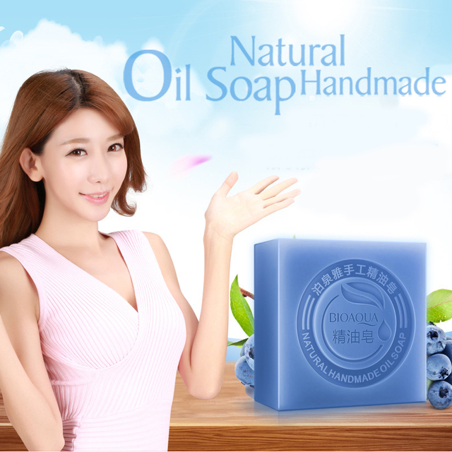 Blueberry Essential Oil Handmade Soap Acne Removal Blackhead Skin Whitening Deep Cleansing Face Wash Hair Care Bath Shower Soap