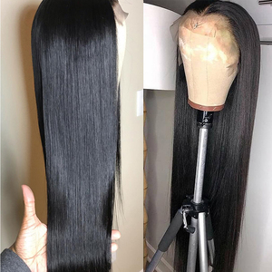 Image 5 - 32 34 36 inç düz dantel ön İnsan saç peruk kadınlar için brezilyalı Remy İnsan saç dantel kapatma peruk Perruque cheveux Humain