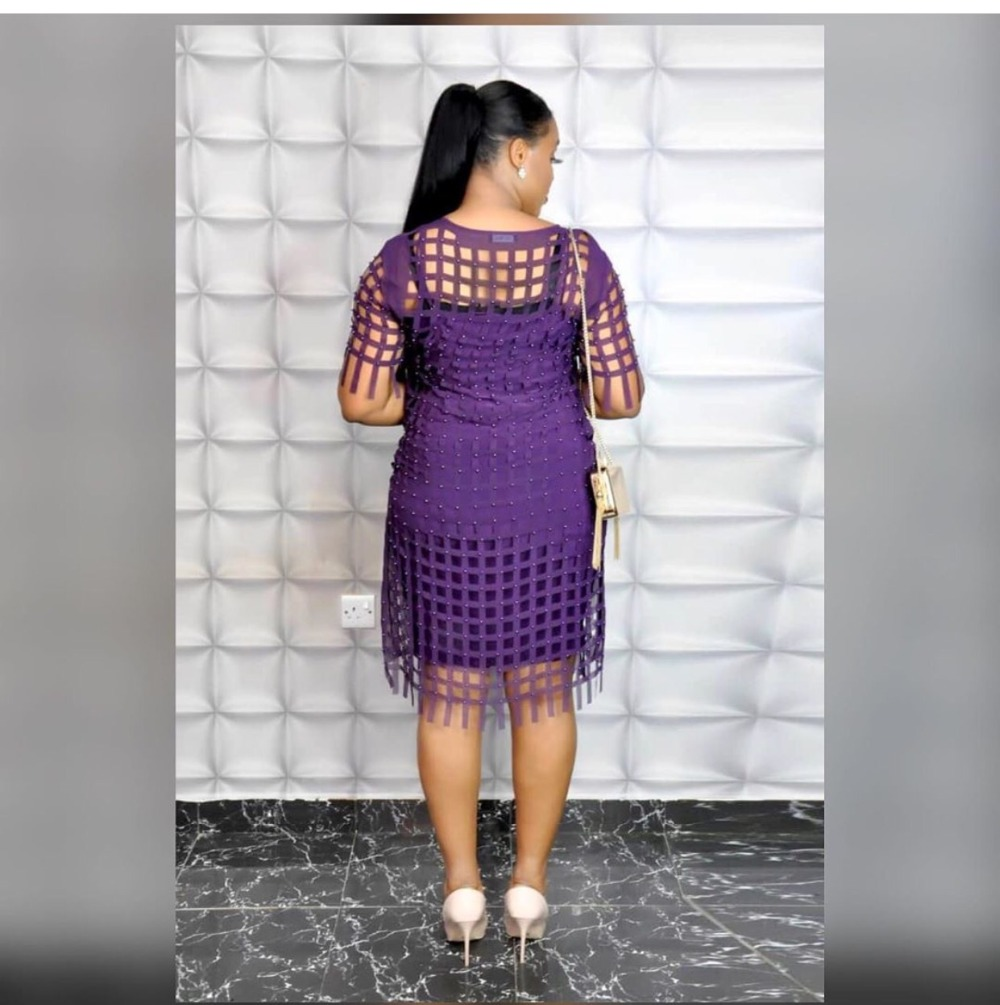 African Dresses For Women Plus Size Dress Loose Chiffon Hollow Out Dress Solid Purple Yellow Robe Party club Bust 150cm (4)