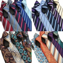 Matagorda 8cm Tie Striped Necktie Business Casual Silk Neck Men Gravata Wedding Party Neckwear Formal Dress Gift