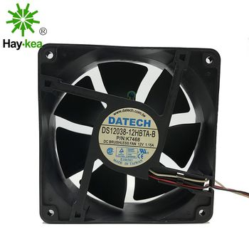 For DATECH DS12038-12HBTA-B 12CM 120*120*38MM DC 12V 1.15A Dual Ball CPU SERVER fan new original ebm papst dv4118 2npu dc48v 0 46a 120 120 38mm 12cm ip54 cooling fan typ4118n 6xmv 4 5w typ4118n