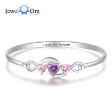 Birthstones-Bracelets Bangles Wedding-Jewelry Customized Women Heart for Engraving Infinity