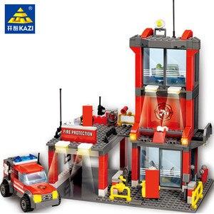 300Pcs City Fire Police Building Blocks Sets Fire Station Fight Engine Car Model Creator Bricks Figures Educational Kids Toys