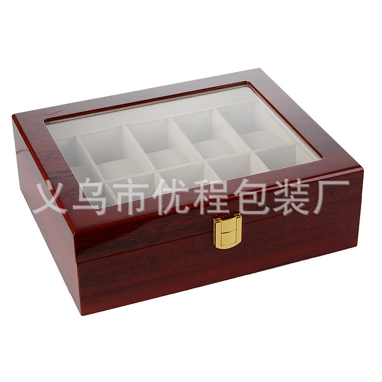 Wood 10 Varnish Watch Box Top Grade Red Wood Grain Paint Spraying Watch Box Display Case
