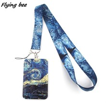 Flyingbee X1301 el cielo estrellado de moda cordón titular de la tarjeta de identificación autobús caja de pase cubierta antideslizante tarjetero para tarjetas de crédito bancarias Correa tarjetero