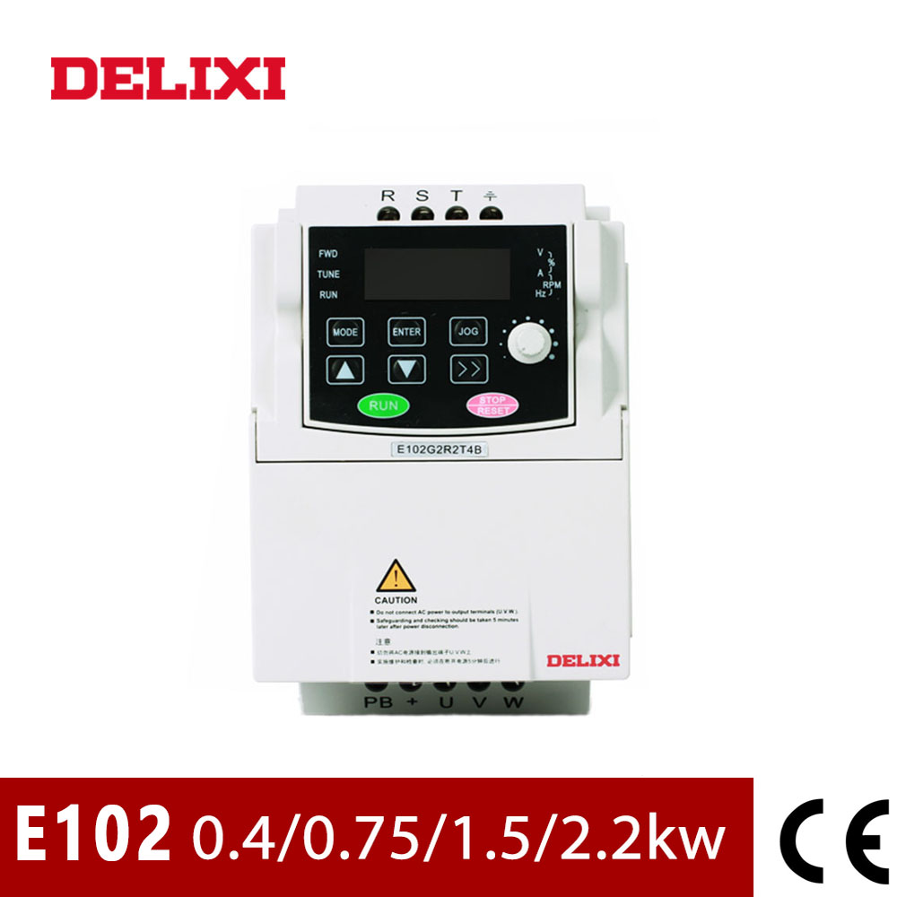 DELIXI AC 220V 0.4KW 0.75KW 1.5KW <font><b>2.2KW</b></font> single phase VFD <font><b>inverter</b></font> drives for motor Speed Control 50/60HZ DC frequency converter image