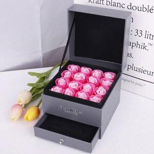 Caja de regalo para guardar joyas, jabón rosa con flor romántica, caja de regalo para regalo de San Valentín/día de la madre, 16 unidades por caja