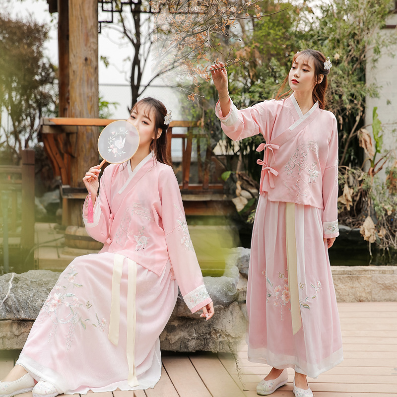 Hanfu Women's Daily Fresh Embroidered Cross-Collar And Jacket One Piece Skirt Performance Clothing Pink Hanfu Suit