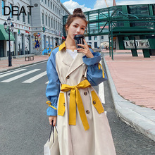 DEAT 2021 New Autumn Fashion Women's Trench Coat Casual Full Sleeve Lapel Collar Patchwork Hit Color Slim Long With Belt TX175