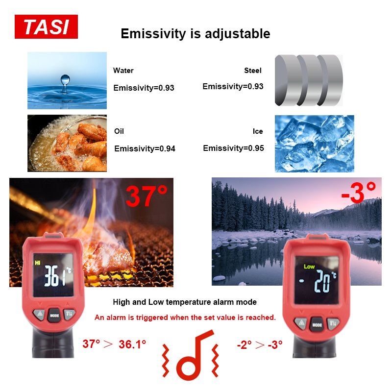 Image 5 - TASI 880 Degrees Celsius Colorful Display High Temperature Infrared Laser ThermometerTemperature Instruments   -