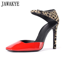 Leopard print High Heels Women Shoes genuine leather ankle strap patchwork square Toe pumps Dress Party Shoes summer for ladies