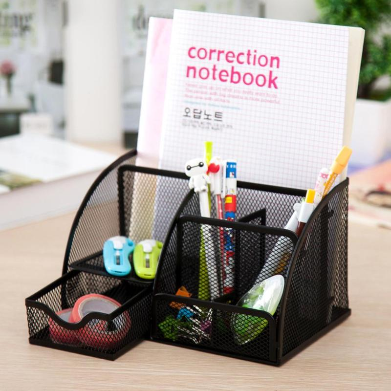 6 Grids/9 Grids Multifunction Desk Organizer Mesh School Office Stationery Storage Iron Metal Pen Pencil Holder Stand Container