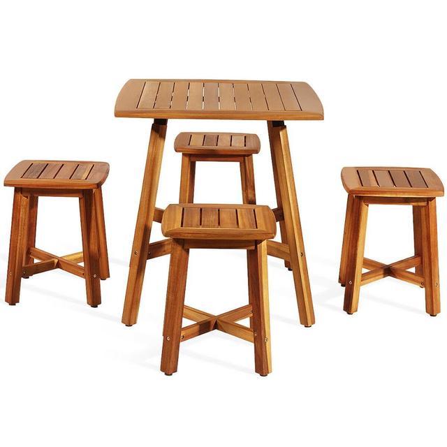 5PCS Acacia Patio Table & 4 Stools  6
