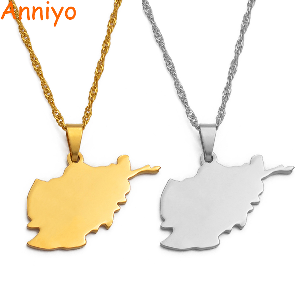 Anniyo Afghanistan Map Pendant Necklaces for Women,Gold Color /Silver Color Maps Jewelry Gifts #035221