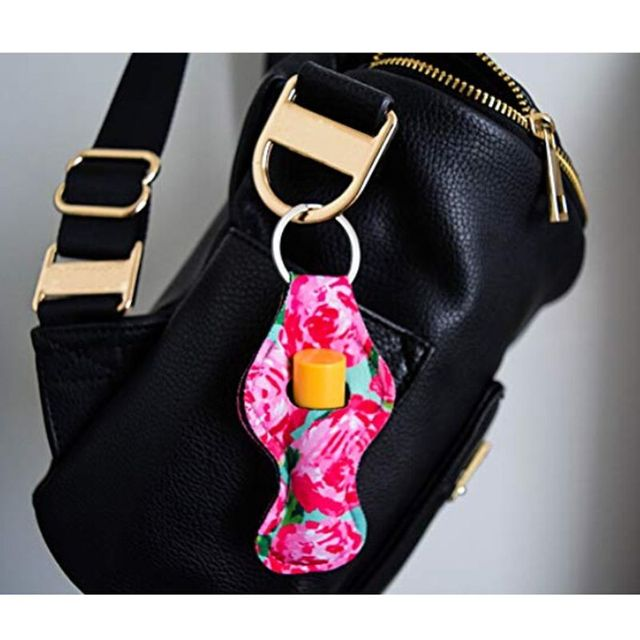 6Pcs Neoprene Floral Waterproof Lipstick Chapstick Holder Bag purse back-pack Key Chain Jewelry keychain Gifts Accessories 1