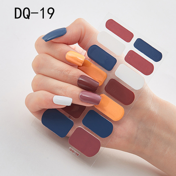14pcs/sheet Glitter Gradient Color Nail Stickers Nail Wraps Full Cover Nail Polish Sticker DIY Self-Adhesive Nail Art Decoration 90