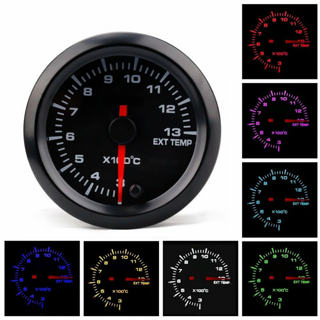 1set Car Auto 12V 52mm/2 7 Colors Universal Exhaust Gas Temp Gauge Ext Temp Meter EGT With SensorAnd Holder Accessories