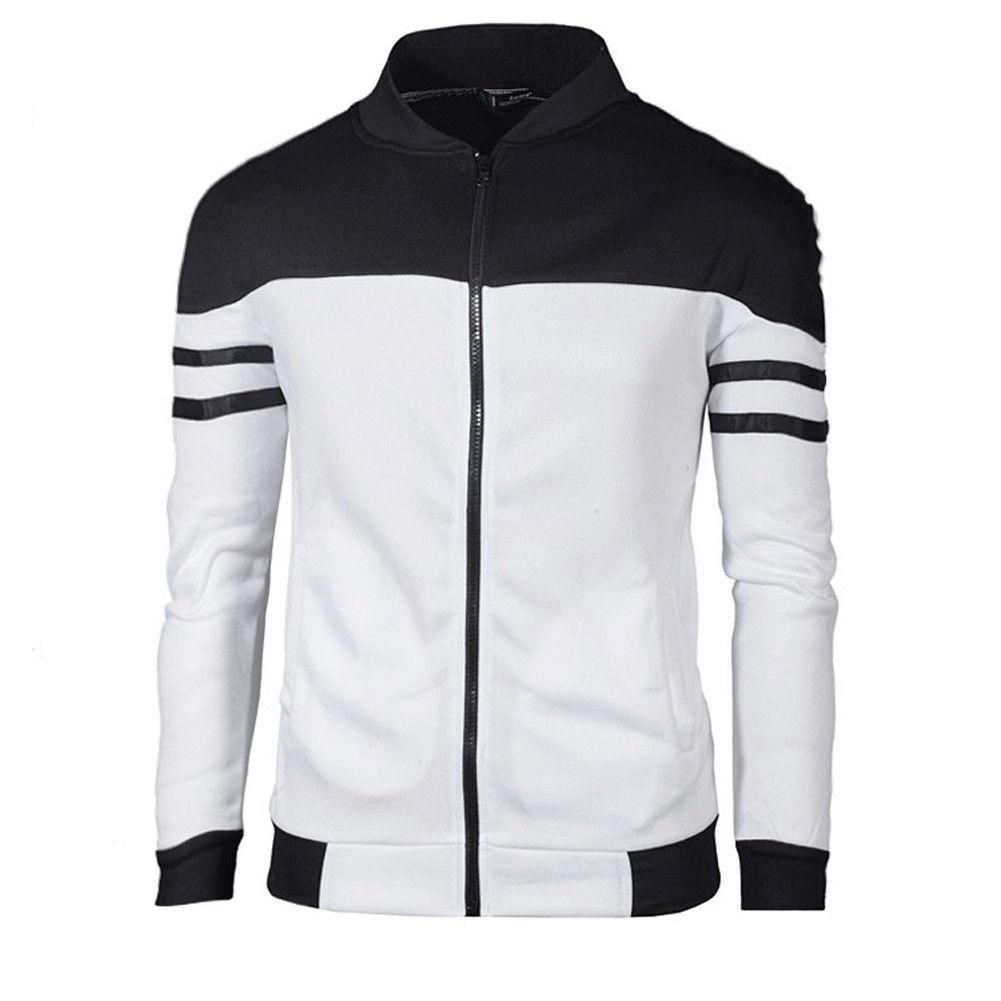 Meihuida Men Plus Size Casual Slim Plain Hoodie Elastic Jacket Fleece Zip Up Pockets Sweatshirt  Zipper Striped Tops Jacket