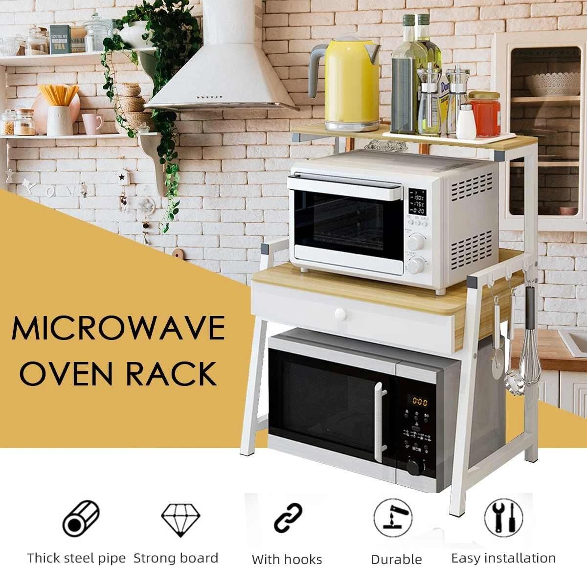 3 Tiers Kitchen Storage Shelf Microwave Oven Rack Stand Organizer With Drawer Steel Frame Wood Board Multifunctional Shelf Racks Holders Aliexpress