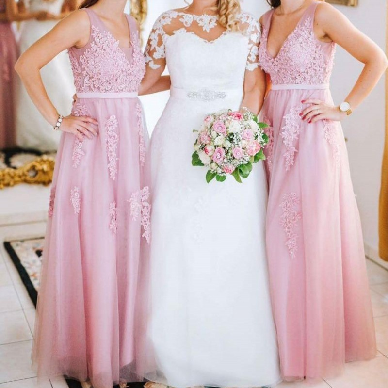Real Photo Pink Long   Bridesmaid     Dresses   2019 Elegant A line Tulle Wedding Party Guest   Dress   Lace Applique vestido madrinha