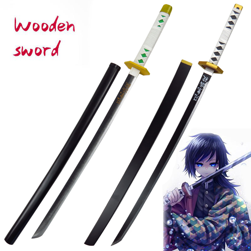 Demon Slayer Wooden Sword Weapon Devil's Blade Sabito Espada Cosplay Samurai Sword Wood Ninja Knife Katana Prop Toys For Teens