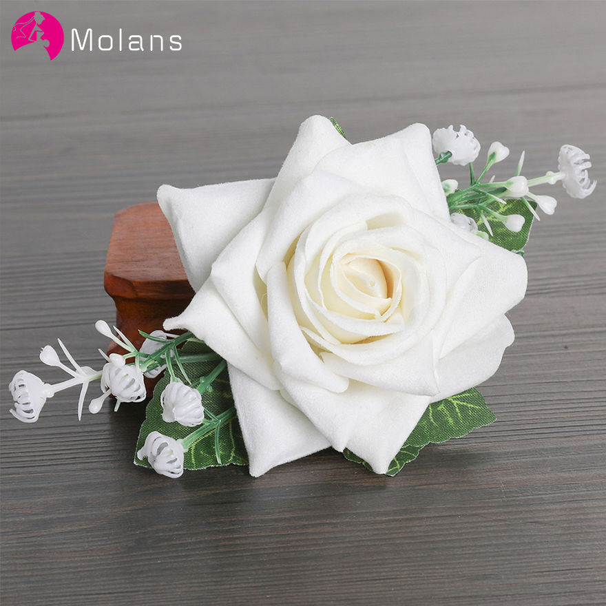 MOLANS Bride Big Rose Hairpins Stimulation Flower Leaf Fabric Hair Clips 4 Colors Available Wedding Photography Women Headpieces