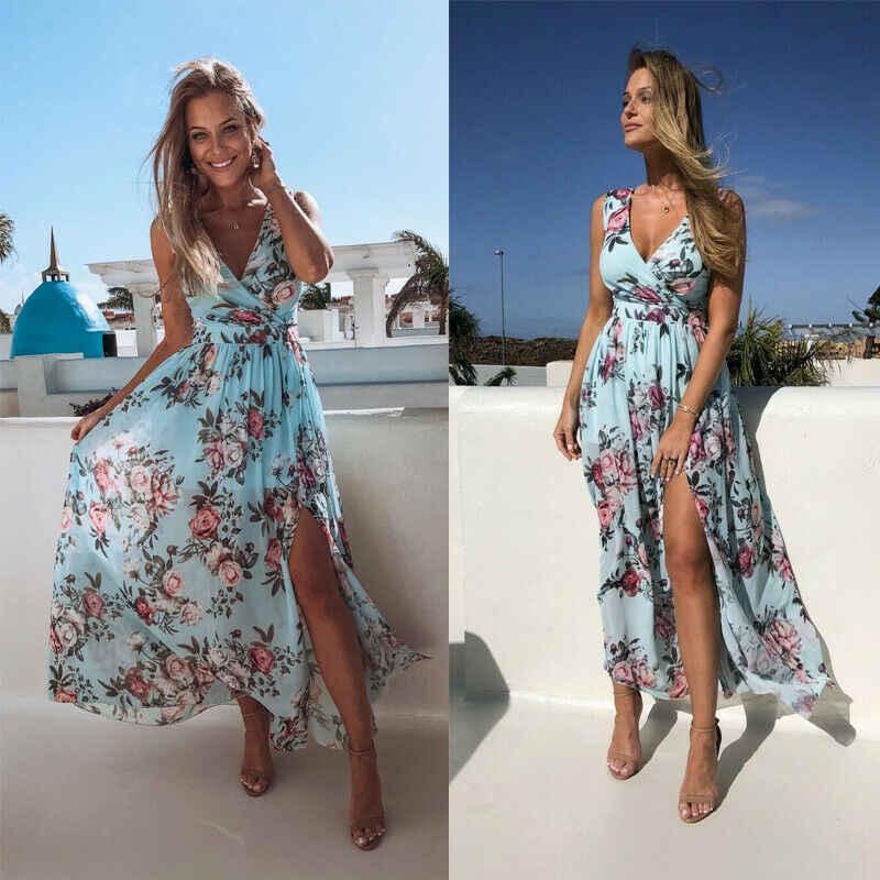 Women Lady Floral Print Summer Party Sleeveless Vest Plus Size Beach Mini Dress