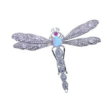Red Trees Brand Metal Large Dragonfly Brooch Pins For Women High Quality Sparkling Cubic Zirconia Jewelry Wholesale(China)