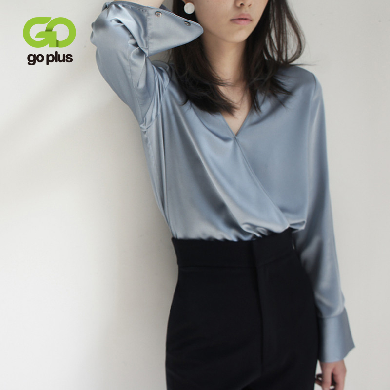 GOPLUS Spring Women's Blouse Shirt Vintage Office Lady Solid V-Neck Long Sleeve Blusas Womens Tops And Blouses Ropa Mujer