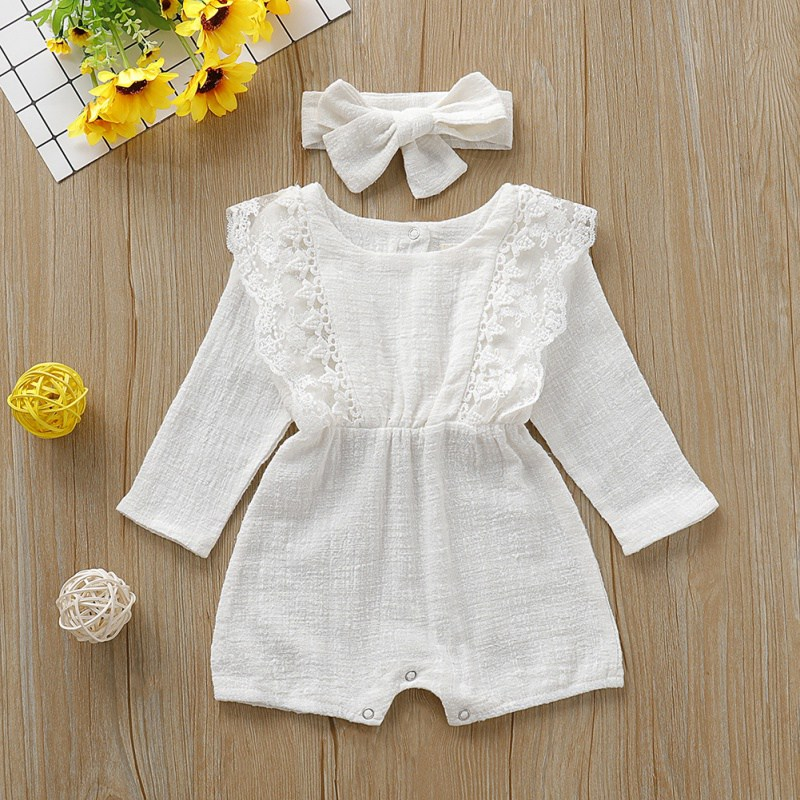 Infant Baby Girls Solid Ruffles Cotton Romper With Headwear Long Sleeve Outfits Turban Jumpsuit Clothes
