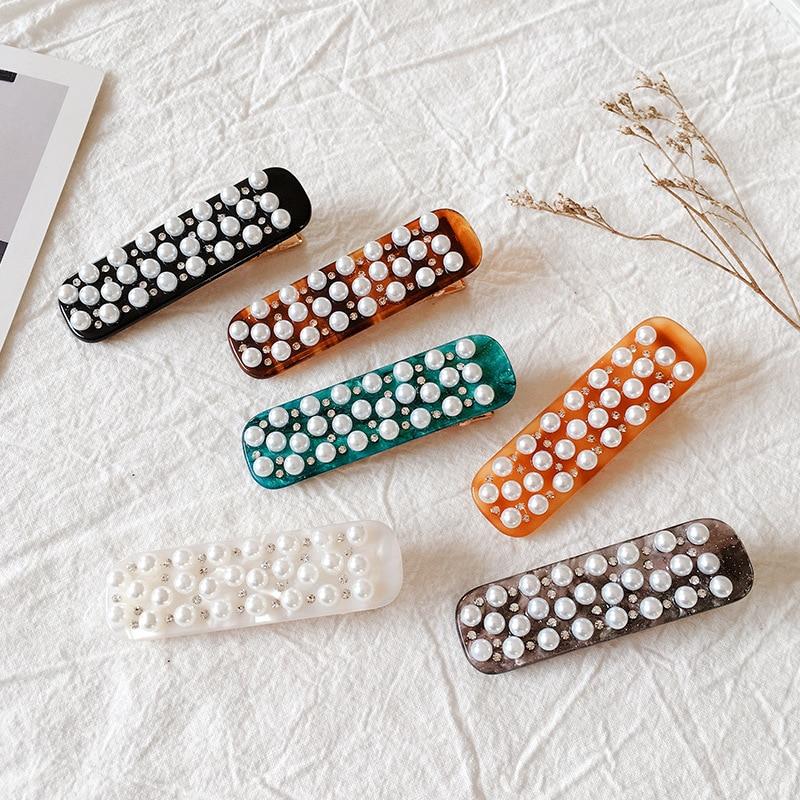 Fashion New Geometric Acetate Hair Clip For Women Trendy Girls Pearl Hairpins Barrettes Classic Hair Accessories Head Wear