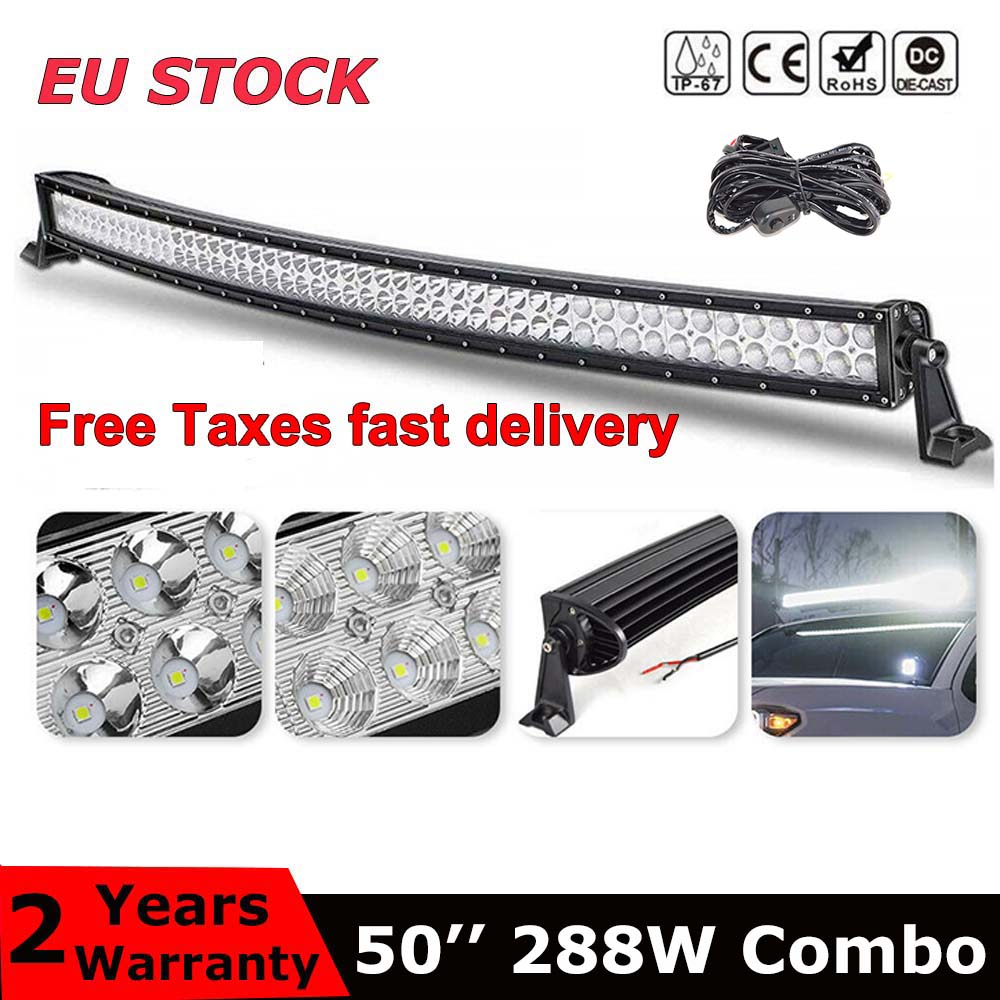 Dual Row 50 inch curved led light bar 288W combo beam For Offroad Tractor Truck 4x4 4WD SUV ATV Vehicle Driving Lamp 12V 24V image