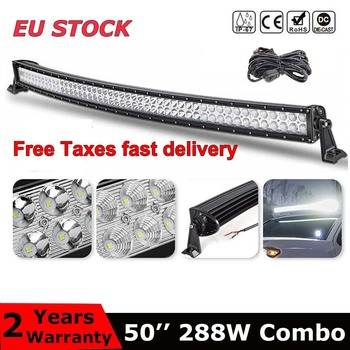 Dual Row 50 inch curved led light bar 288W combo beam For Offroad Tractor Truck 4x4 4WD SUV ATV Vehicle Driving Lamp 12V 24V