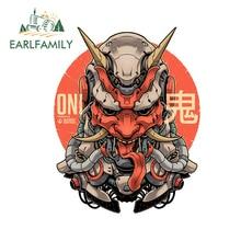 EARLFAMILY 13Cm X 10.1Cm Nhật Bản Samurai Mặt Nạ Quỷ Ngộ Nghĩnh Xe Ô Tô Vinyl Xe Máy Decal JDM Chống Thấm Nước Chống Nắng đề Can