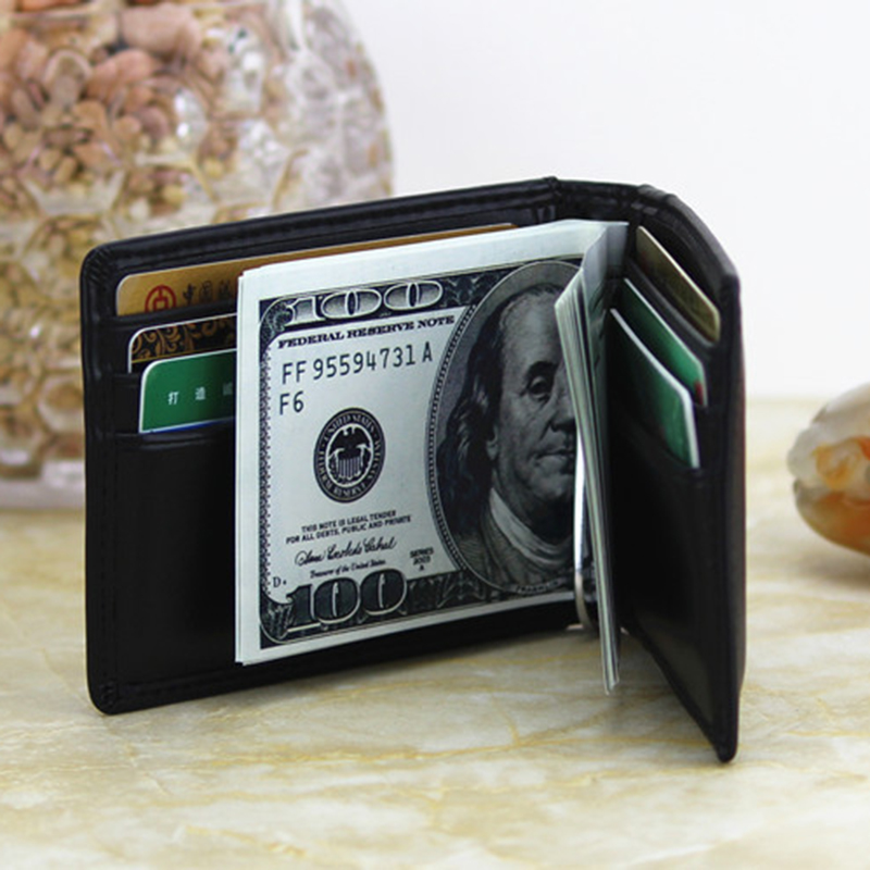 DANJUE Men Money Clips Real Genuine Leather Slim Credit Card Dollar Clip Purse 100% Cowhide Small Coin Wallet Male New Design