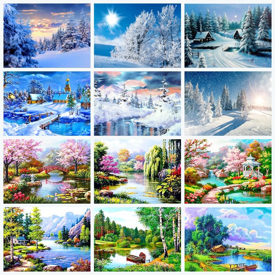 Diy картина, вышитая бисером комплект снега 5D алмазов картина пейзаж Алмазная мозаика вышивка-мозаика стразами пейзаж