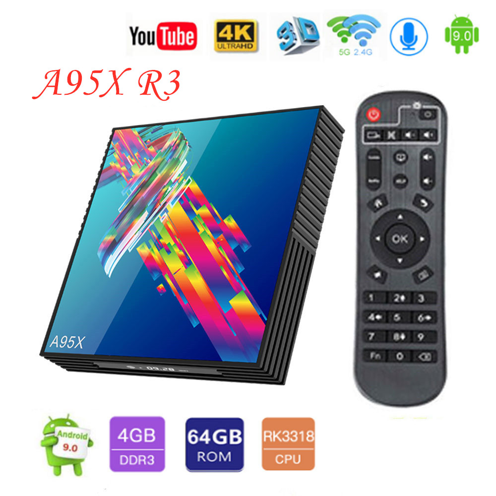 A95X R3 Android 9.0 Caixa de TV Inteligente RK3318 4G 32GB 64GB Rockchip 2.4G & 5GHz wi-fi USB3.0 Google Media Player Suporte Netflix Youtube