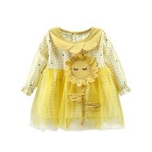 New Autumn Baby Girl Dress 0-4T Cute Sunflower Embroidery Toddler Girls Dresses Fashion Novel Long-sleeved Print