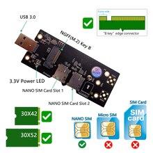 Ngff m.2 para usb 3.0 adaptador cartão de expansão com nano duplo slot para cartão sim para wlan/lte 3g/4g/5g módulo apoio m.2 chave b 3042/3052