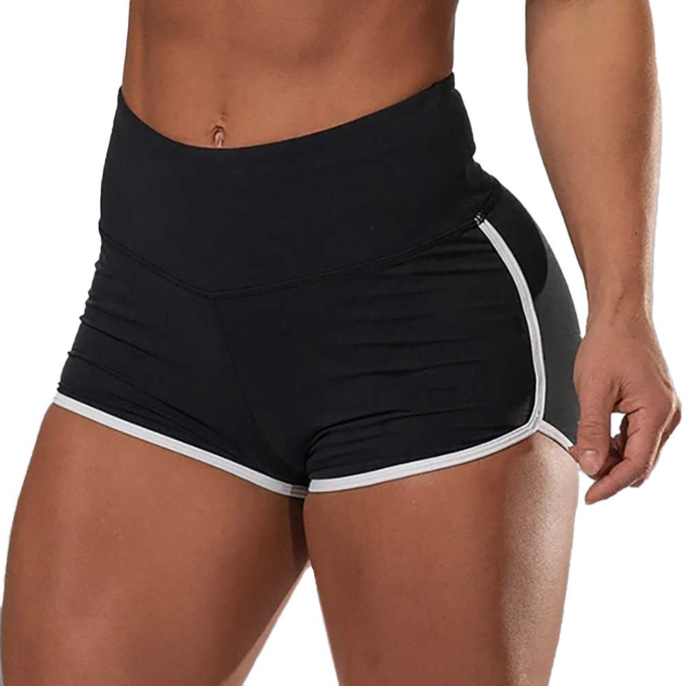 Femmes taille haute Yoga Shorts décontracté couleur unie élastique Fitness Leggings pousser Stretch course sport court pantalon Legging