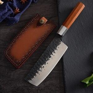 Image 3 - QING High Quality Stainless Steel Forged Knives Hammer Blade Kiritsuke / Chef / Santoku / Nakiri Kitchen Cleaver Cooking Tool