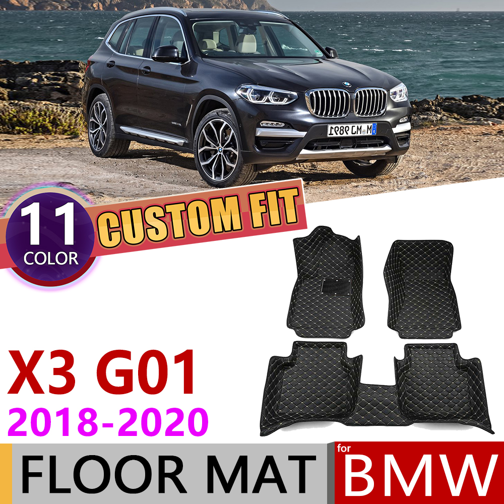 Custom Leather Car Floor Mats for <font><b>BMW</b></font> <font><b>X3</b></font> <font><b>G01</b></font> 2018 2019 2020 5 Seats Waterprool Anti-dirty Auto Mat Foot Pad Carpet Accessories image