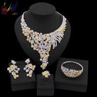 Yulaili 2019 New Design Cubic Zirconia Wedding Jewelry Sets Bridal Necklace Dangle Earrings Ring Charm Bracelet Free Shipping