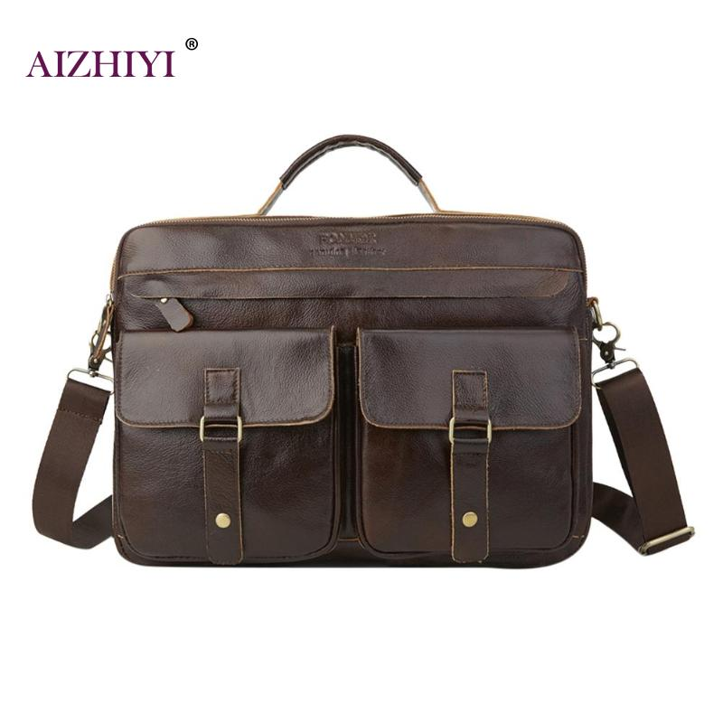 Men Genuine Leather Briefcase Zip Casual Messenger Shoulder Bag Male Fashion Business Solid Color Handbags Top-handle Bags
