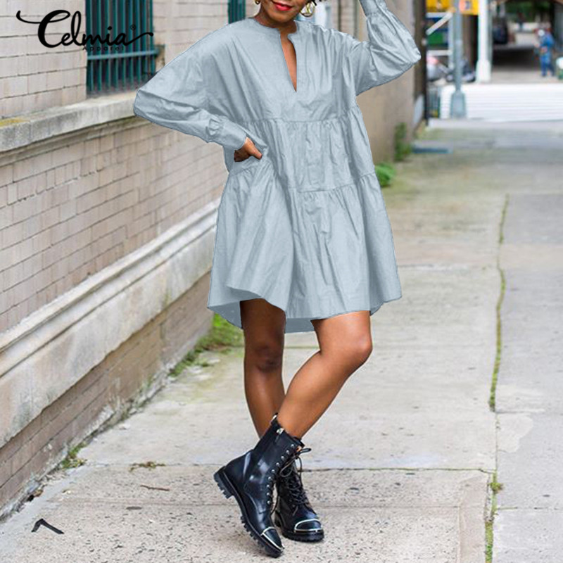 Celmia kadınlar zarif büyük salıncak Mini elbise 2021 bahar uzun kollu elbise Ruffled evaze elbise moda rahat parti Sundress artı boyutu