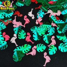 15g Green Palm Leaf Confetti Flamingo Sequin Scatter DIY Jungle Theme Event Centerpiece Decor Wedding Baby Birthday Party Supply