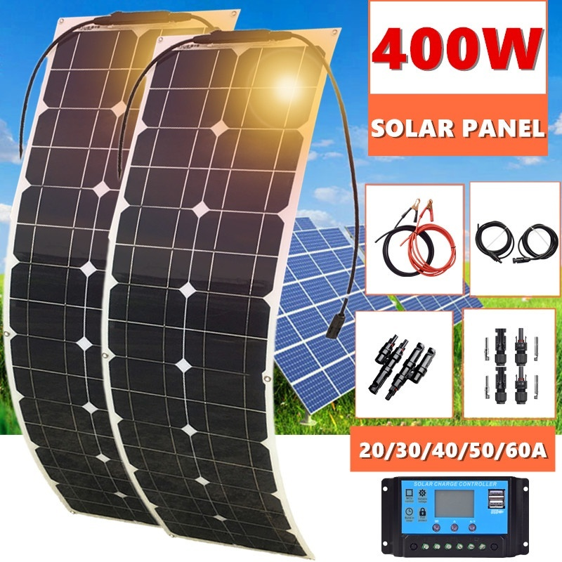 400W 2x 200W Solar Panel Mono Solar Battery Charger With 5V/12V/24V Controller For Car Yacht Battery Boat RV