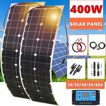цена на 400W 2x 200W Solar Panel Mono Solar Battery Charger with 5V/12V/24V Controller for Car Yacht Battery Boat RV